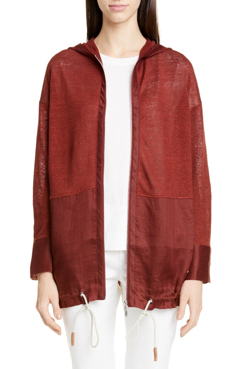 LAFAYETTE 148 NEW YORK Mixed Material Sweater Jacket, Main, color, REDWOOD