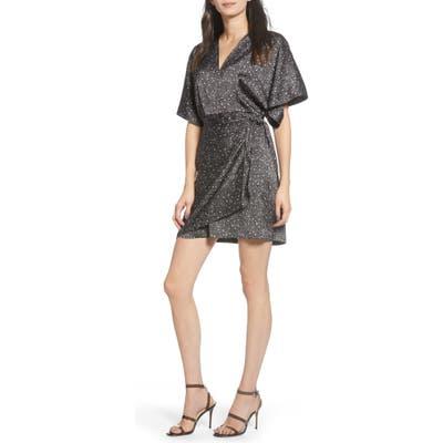 Chelsea28 Print Satin Wrap Dress, Black