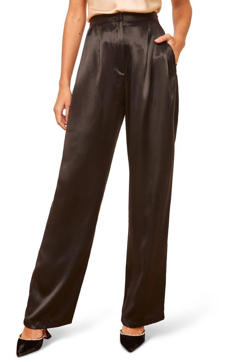REFORMATION Chandler High Waist Silk Pants, Main, color, BLACK
