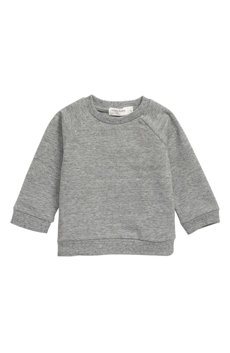 MILES baby Stretch Organic Cotton Sweatshirt, Main, color, DARK GREY HEATHER