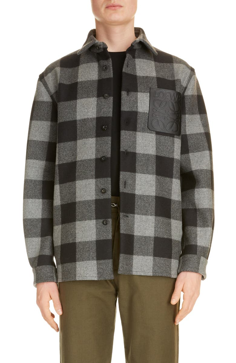 LOEWE Plaid Wool Overshirt, Main, color, GREY/ BLACK