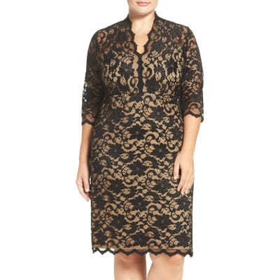 Plus Size Karen Kane Scalloped V-Neck Stretch Lace Dress, Black