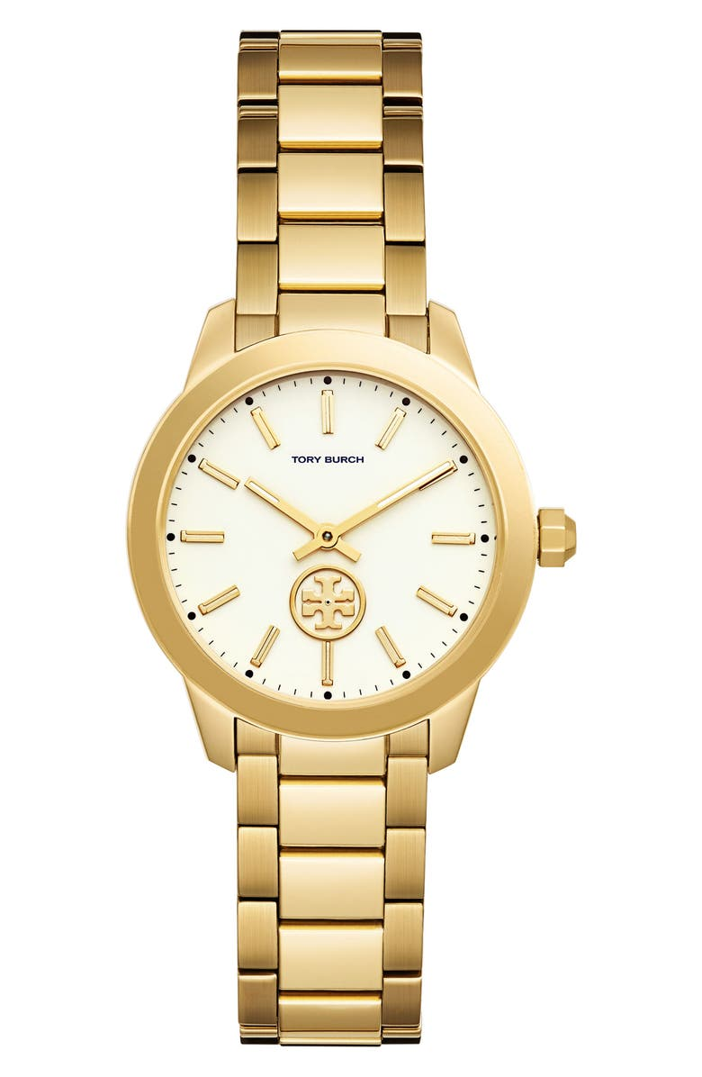 TORY BURCH Collins Bracelet Watch, 32mm, Main, color, GOLD/ IVORY/ GOLD