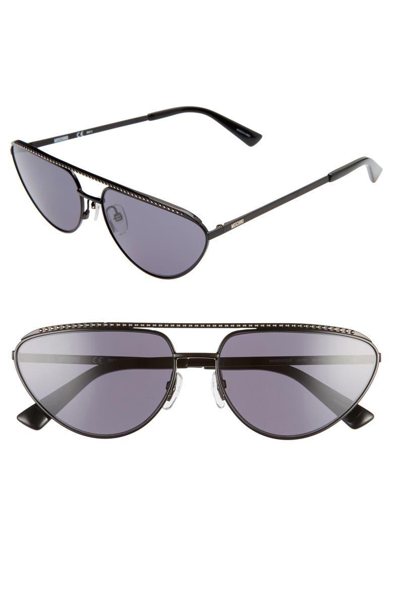MOSCHINO 60mm Cat Eye Sunglasses, Main, color, BLACK/ GREY BLUE