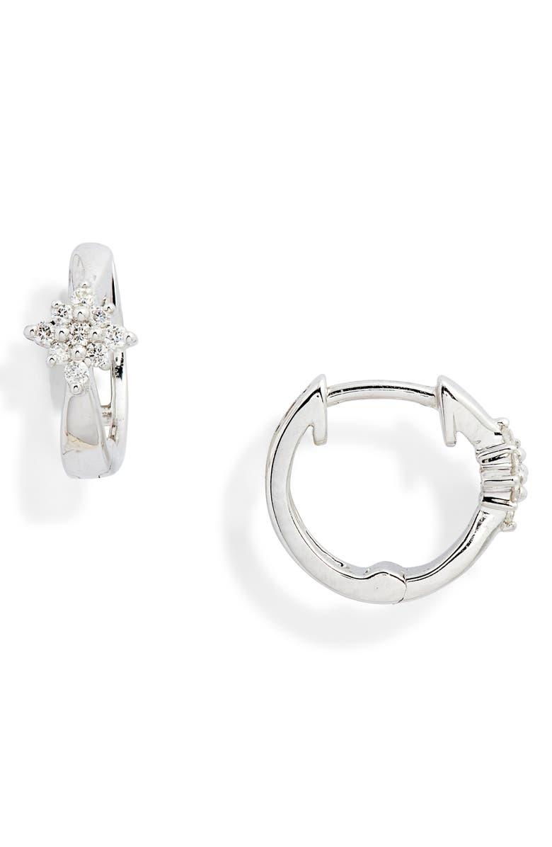 DANA REBECCA DESIGNS Jennifer Yamina Flower Huggie Diamond Earrings, Main, color, WHITE GOLD