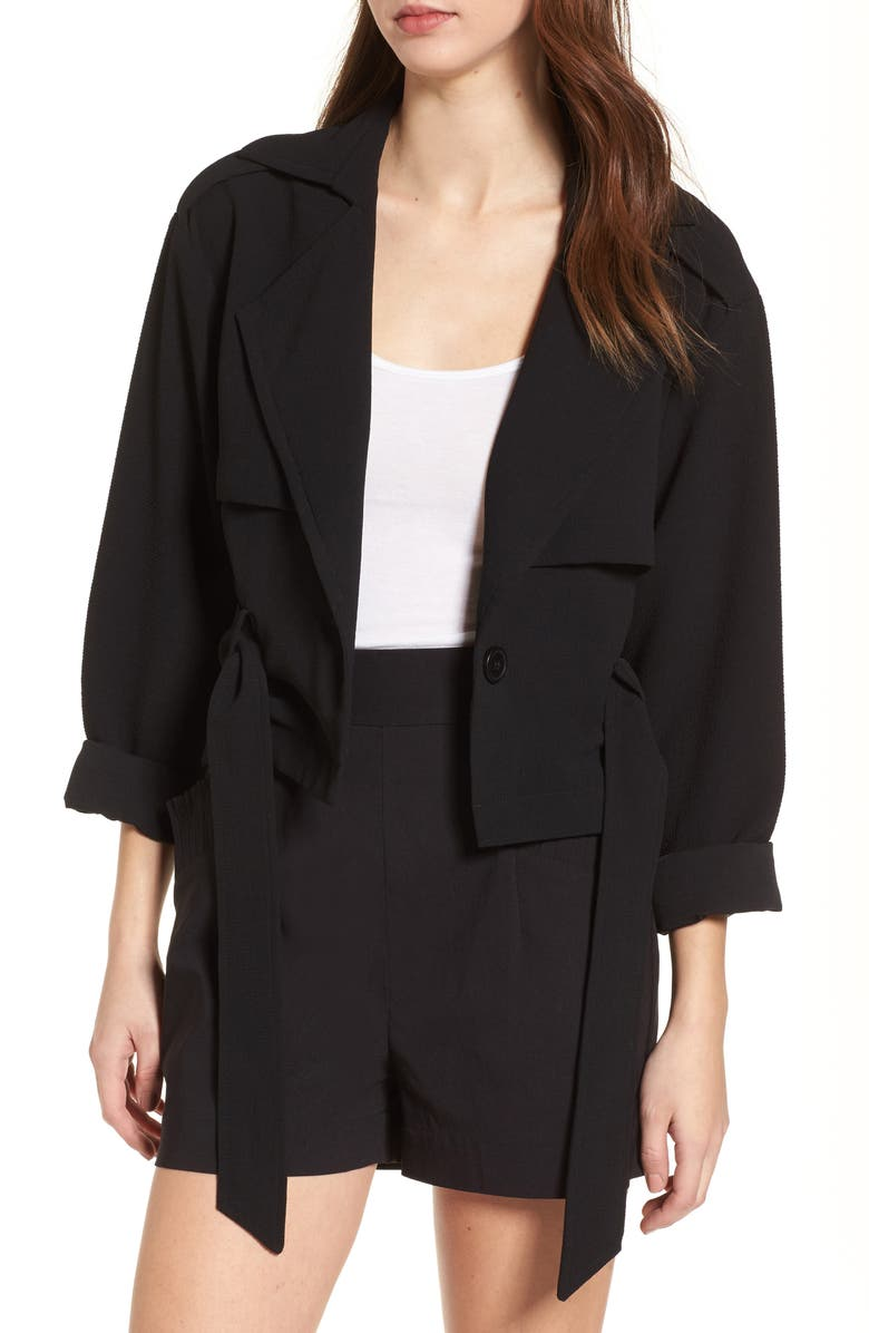 LEITH Crop Trench Jacket, Main, color, 001