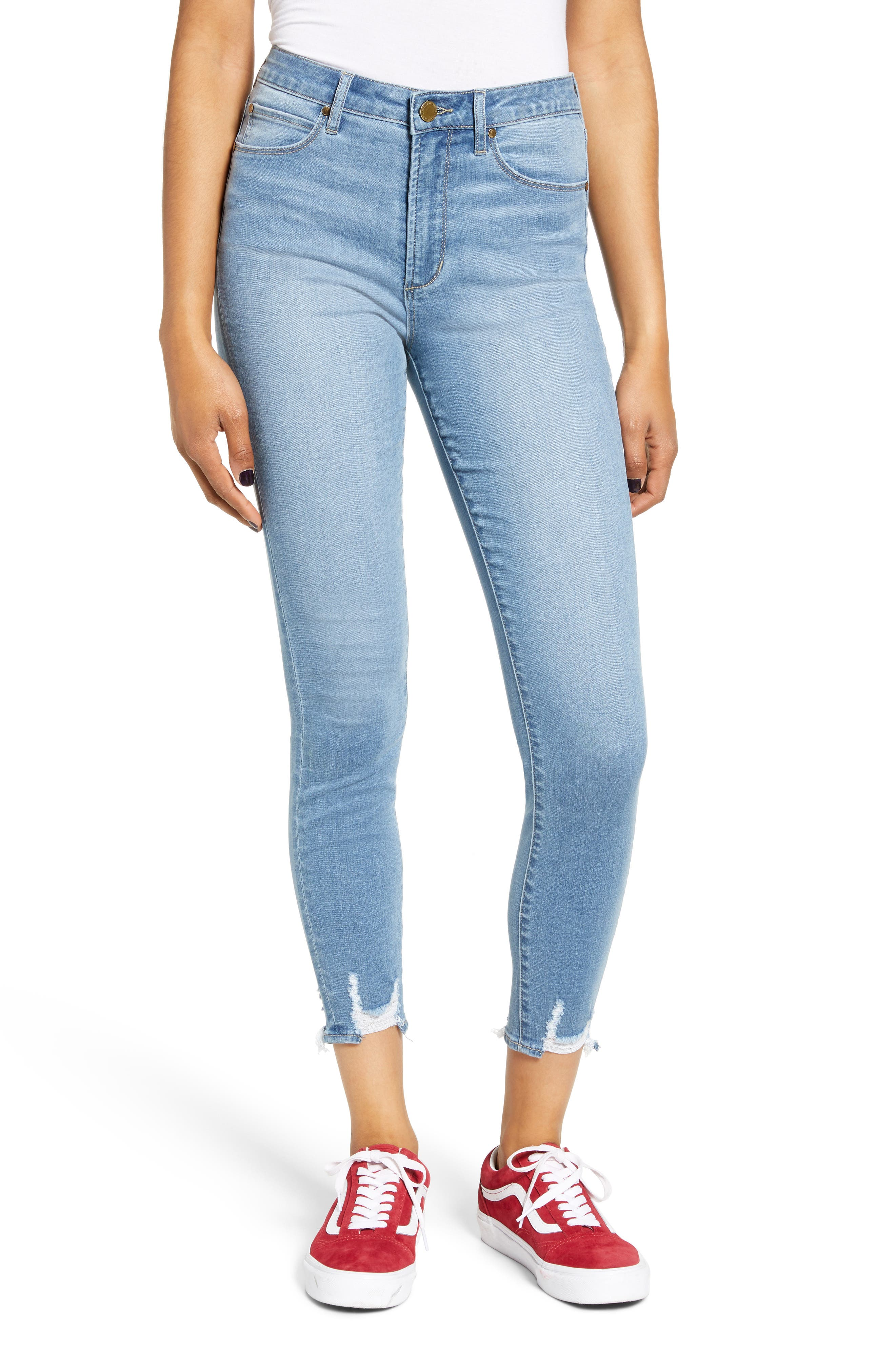 Articles of Society Heather High Waist Distressed Hem Crop Skinny Jeans (Echo Park)