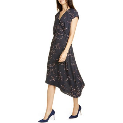 Joie Bethwyn Floral Crepe Wrap Dress, Blue