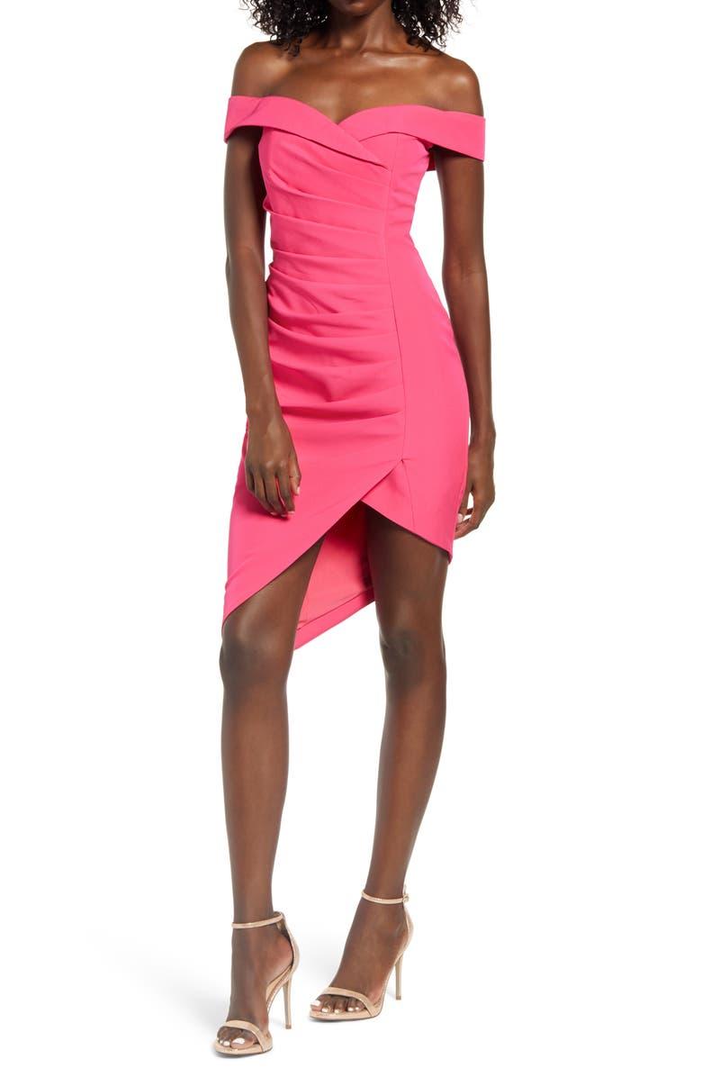 LAVISH ALICE Bardot Pleat Front Dress, Main, color, BRIGHT PINK