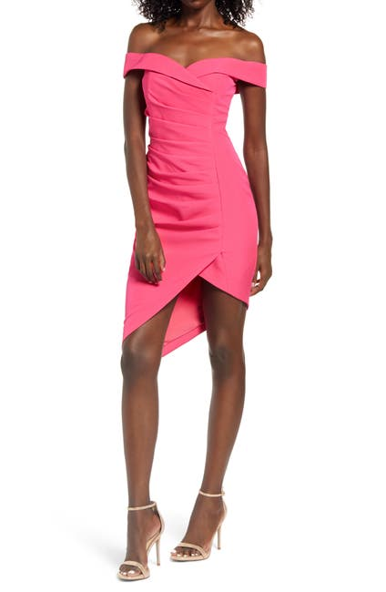 Image of LAVISH ALICE Bardot Pleat Front Dress