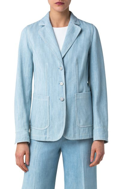 AKRIS PUNTO WASHED DENIM BLAZER