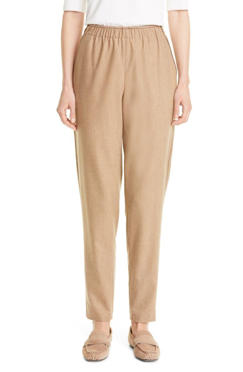 LAFAYETTE 148 NEW YORK Side Stripe Stretch Wool Blend Pants, Main, color, CAMEL MELANGE