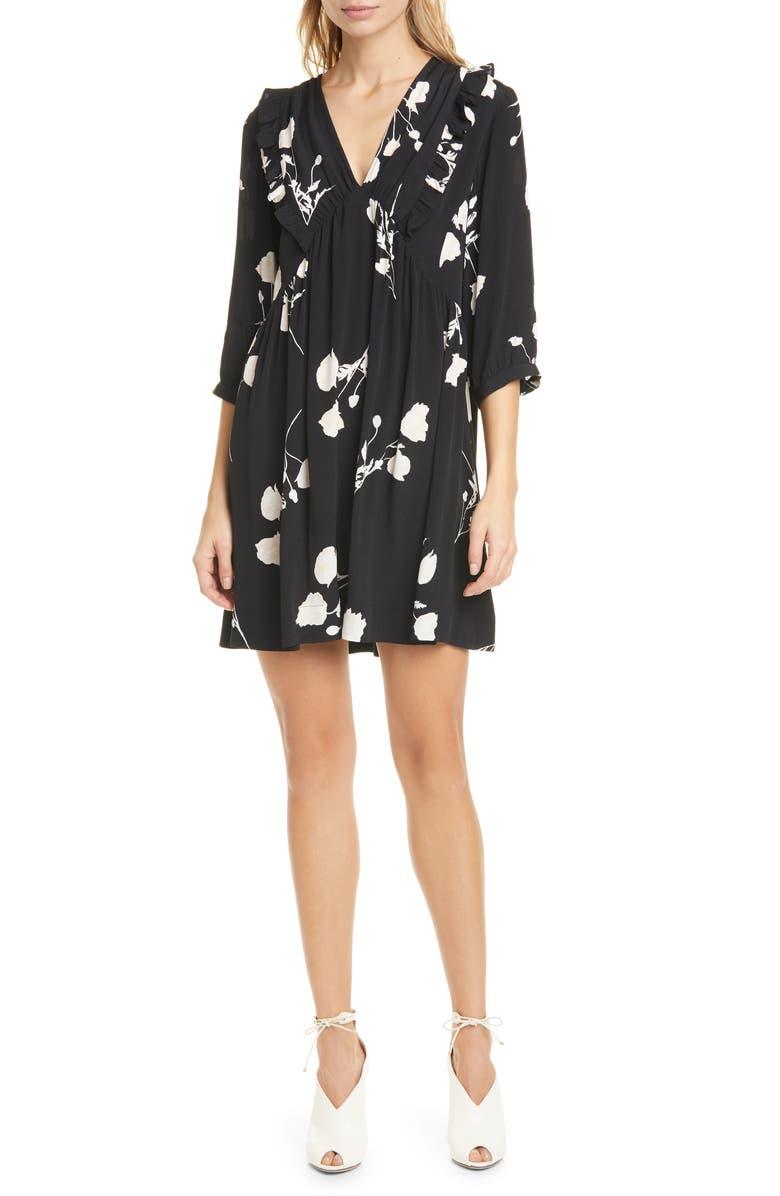 BA&SH Pansy Print V-Neck Swing Dress, Main, color, BLACK