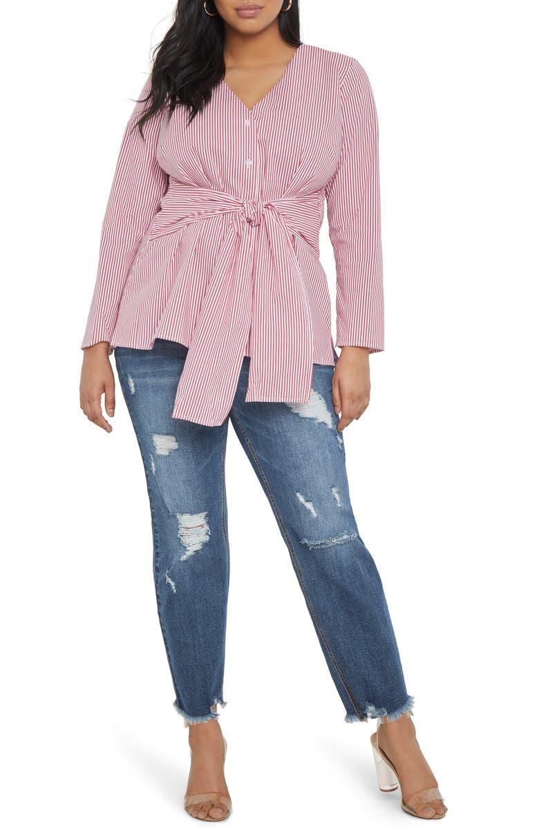 ELOQUII Stripe Long Sleeve Cotton Blend Tie Front Blouse, Main, color, 600