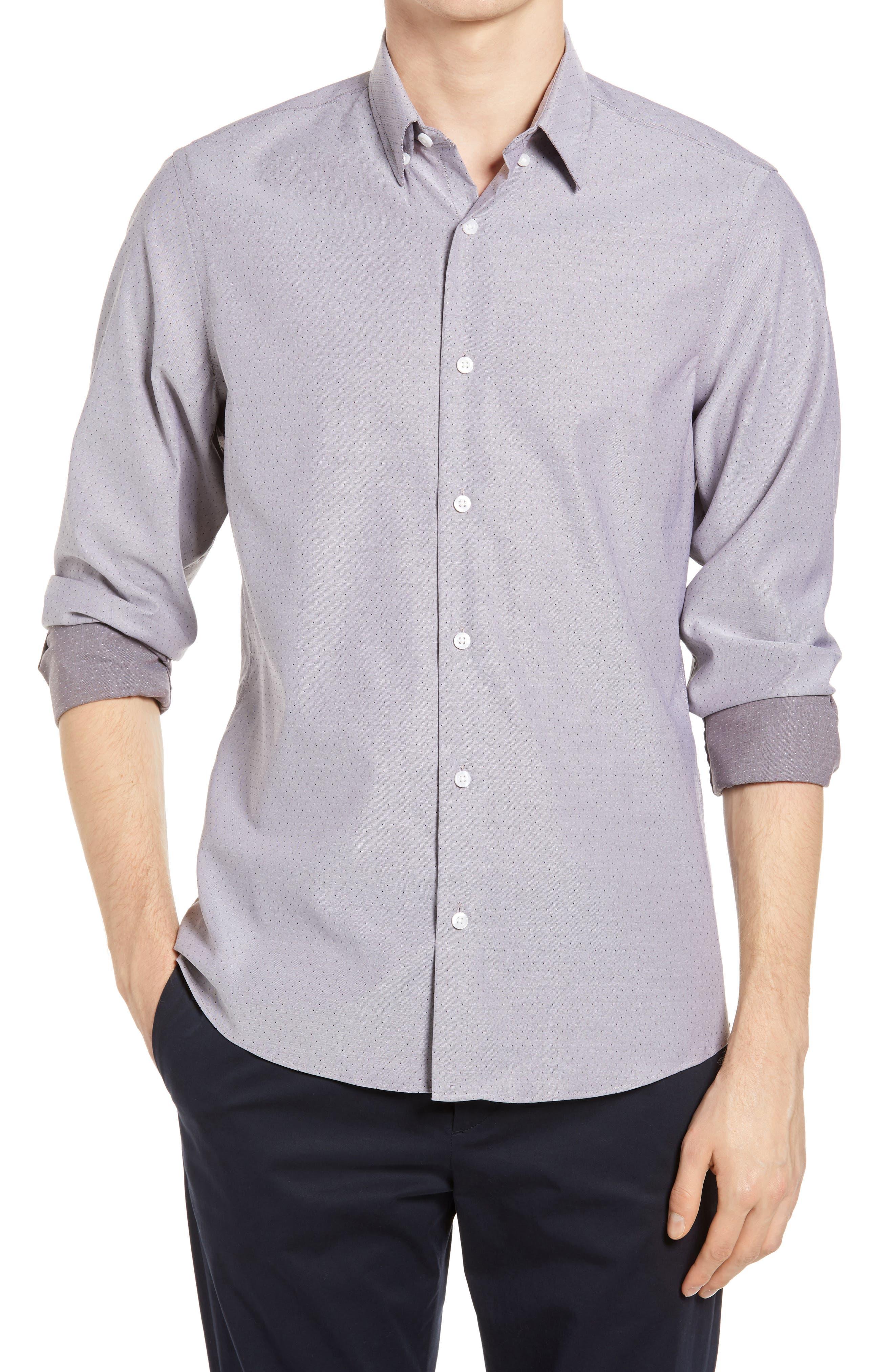 Image of NORDSTROM MEN'S SHOP Men's Shop Tech-Smart Trim Fit Dobby Button-Up Shirt