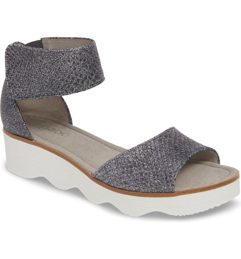 GABOR Wedge Sandal, Main, color, BLUE TEXTURED LEATHER