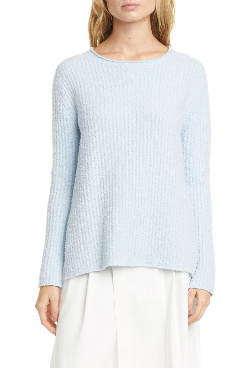 VINCE Textured Ribbed Cotton Blend Sweater, Main, color, GLACIER