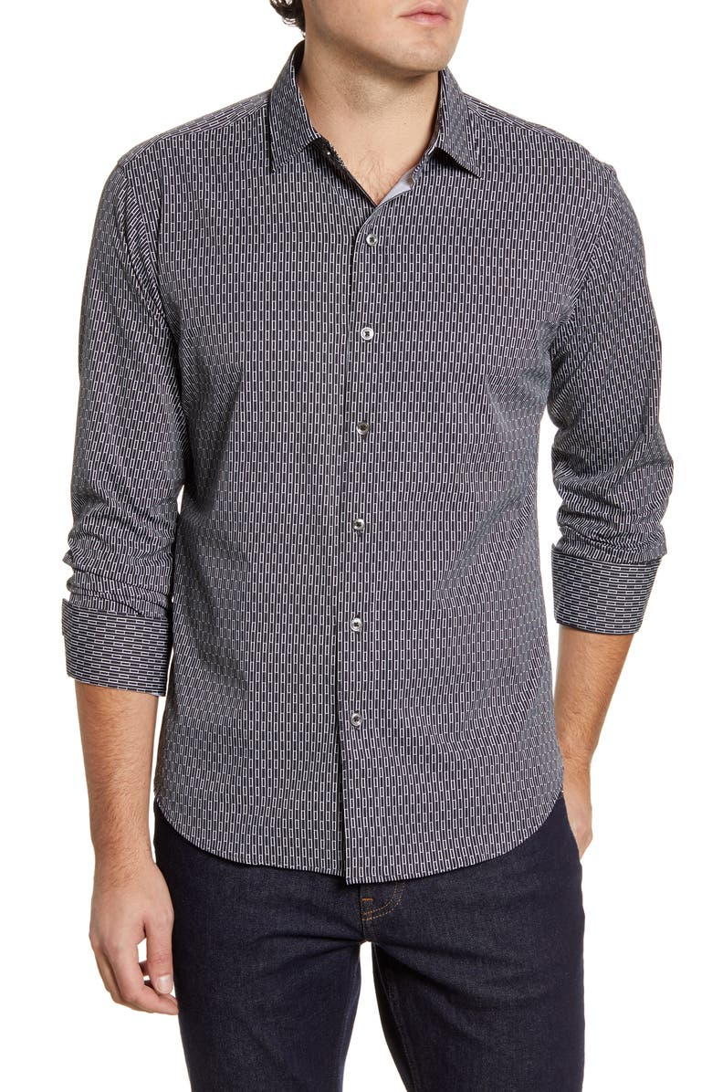 BUGATCHI Shaped Fit Button-Up Performance Shirt, Main, color, 001