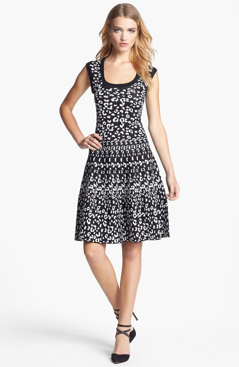 REBECCA TAYLOR Intarsia A-Line Dress, Main, color, 001