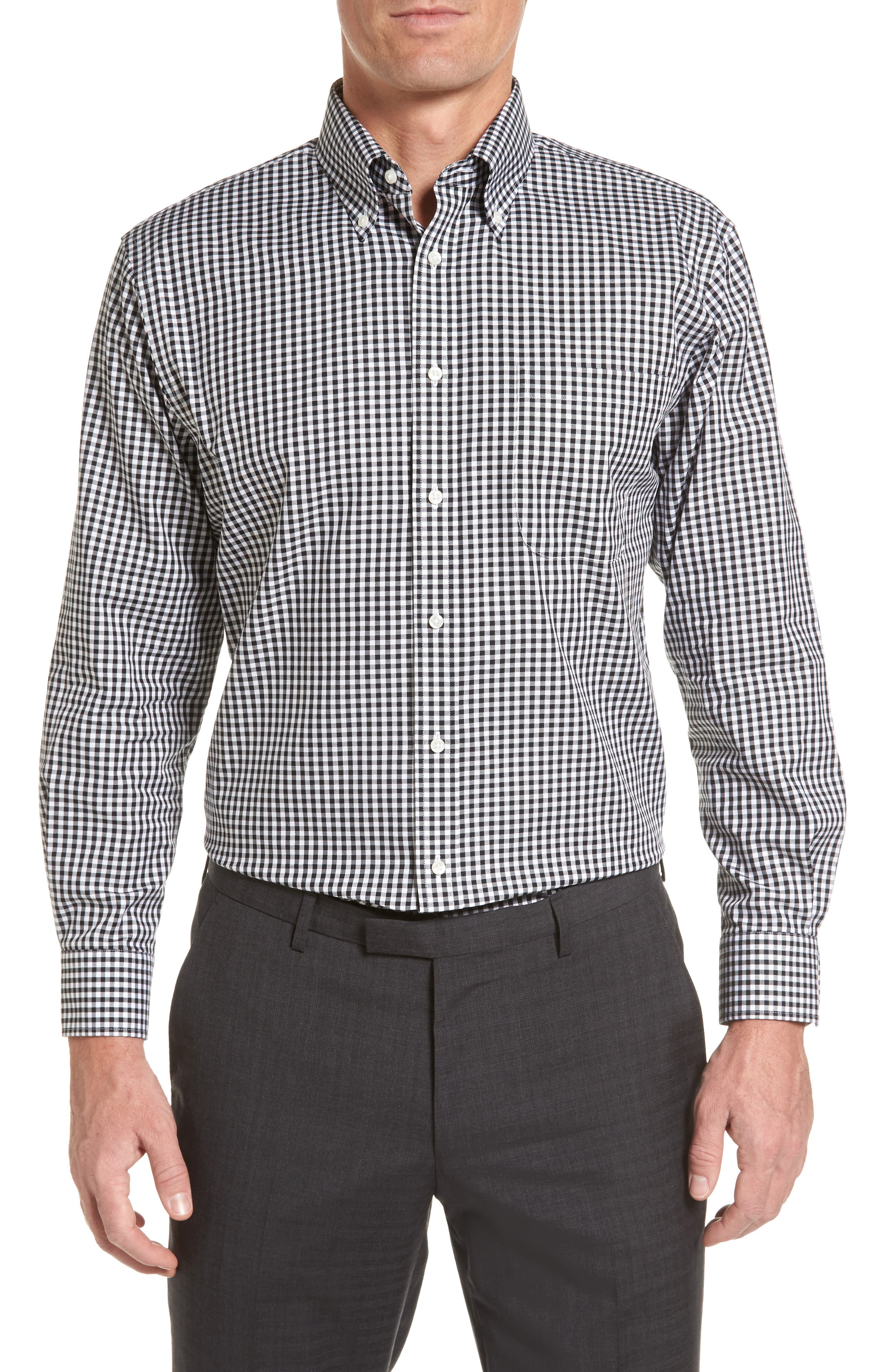 Traditional Fit Non-Iron Gingham Dress Shirt, Main, color, BLACK ROCK
