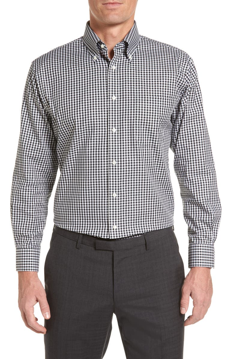 NORDSTROM MEN'S SHOP Traditional Fit Non-Iron Gingham Dress Shirt, Main, color, 001