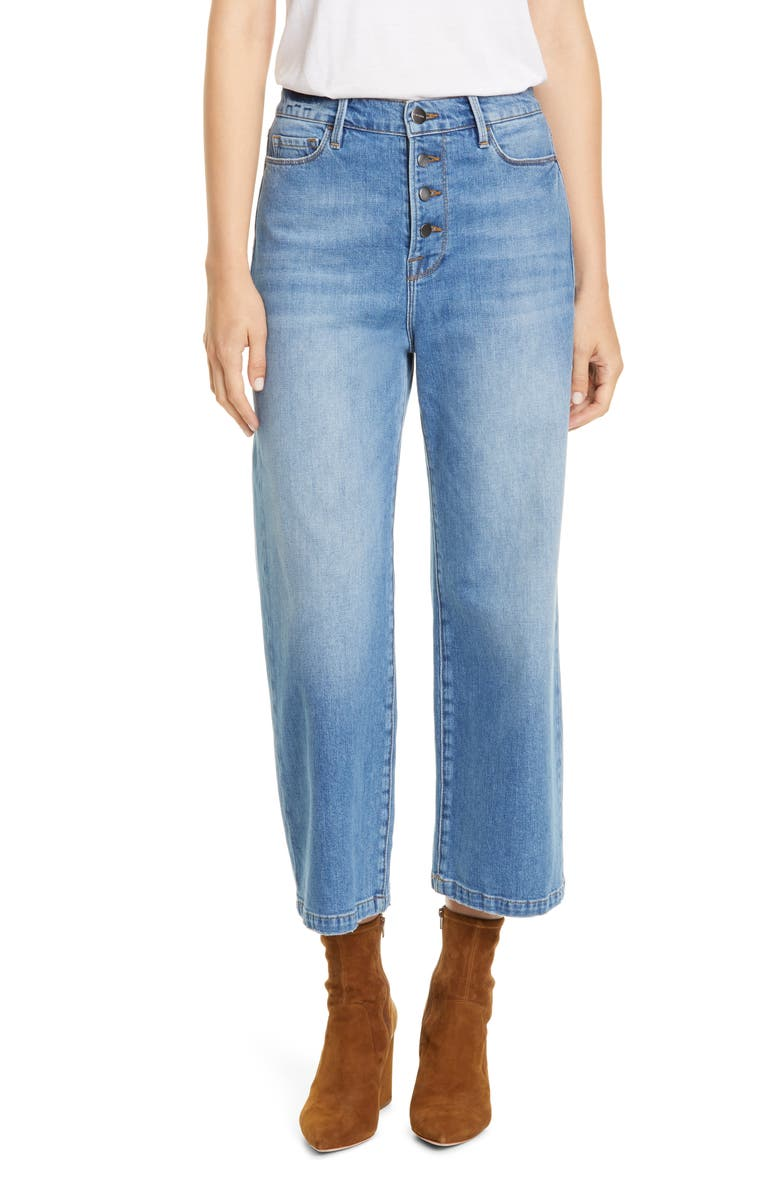 FRAME Ali Button Fly Crop Wide Leg Jeans, Main, color, YORKSHIRE