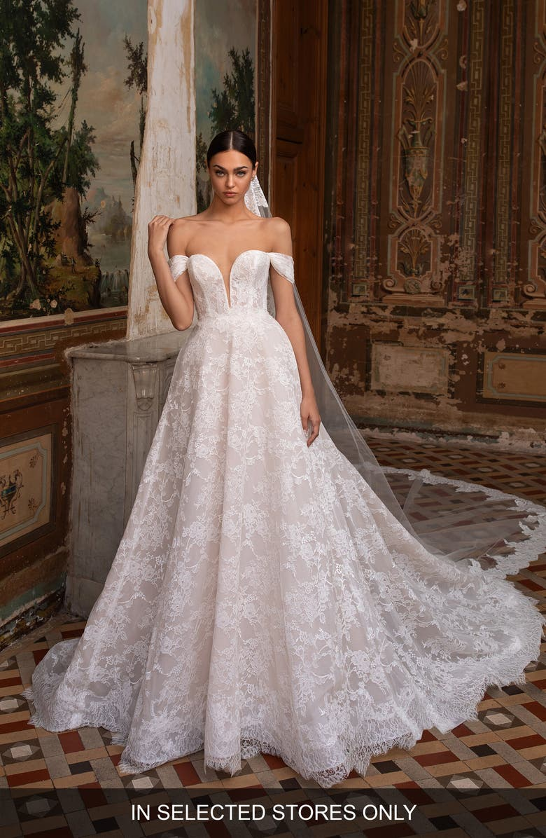 Superba Lace Off the Shoulder Ballgown Wedding Dress by Pronovias