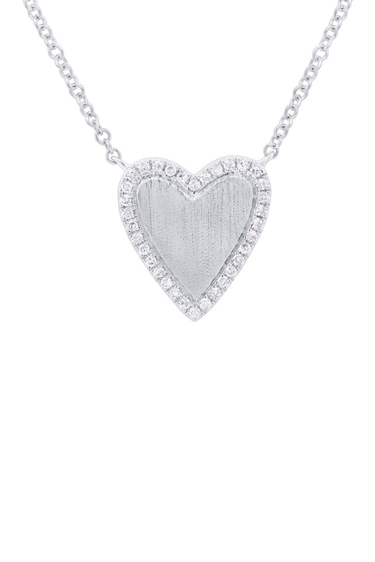 Image of Ron Hami 14K White Gold Pave Diamond Heart Pendant Necklace - 0.09 ctw