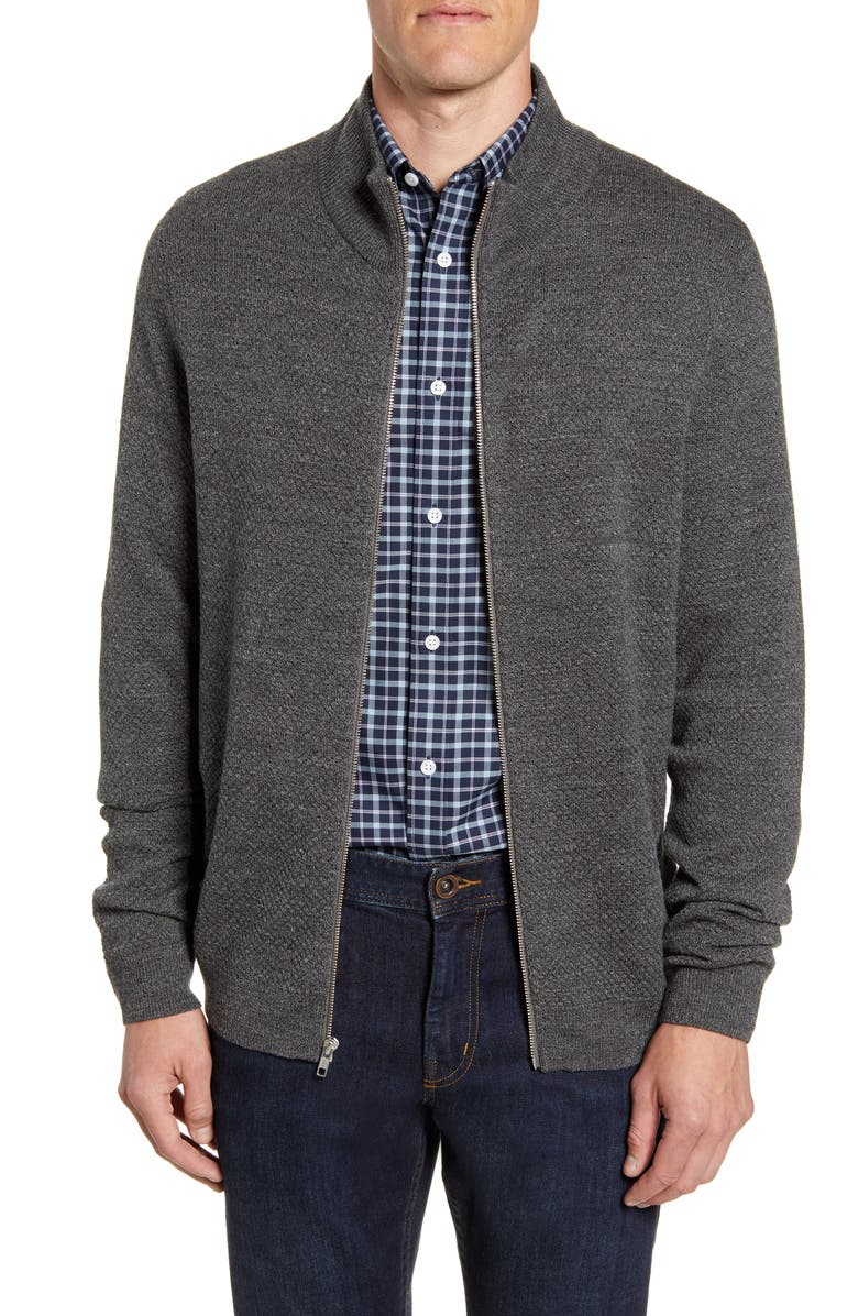 NORDSTROM MEN'S SHOP Mock Neck Zip Sweater, Main, color, GREY TORNADO HEATHER
