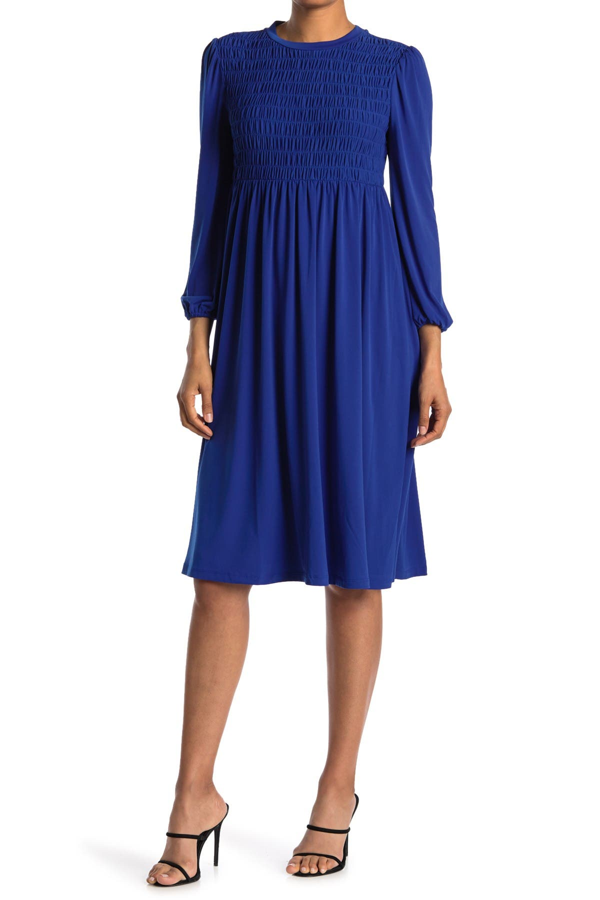 Image of London Times Long Sleeve Jersey Smocked Midi Dress