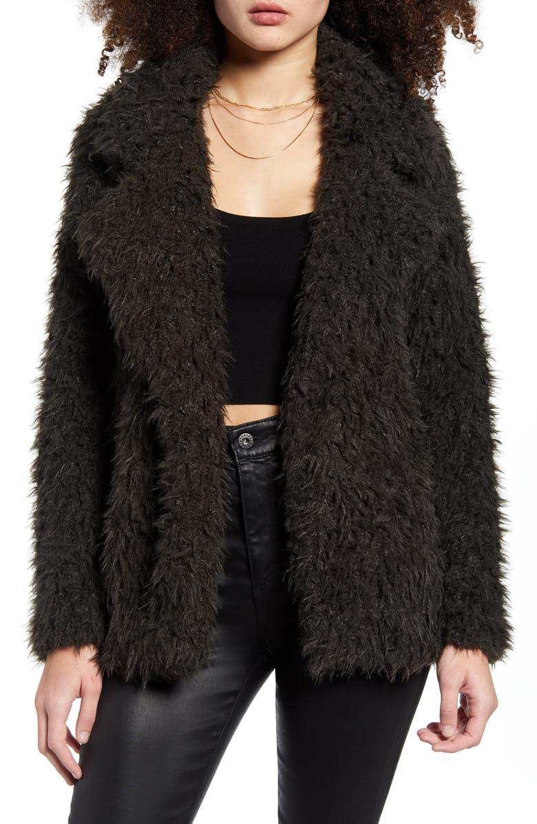 VERO MODA Faux Fur Coat, Main, color, PEAT