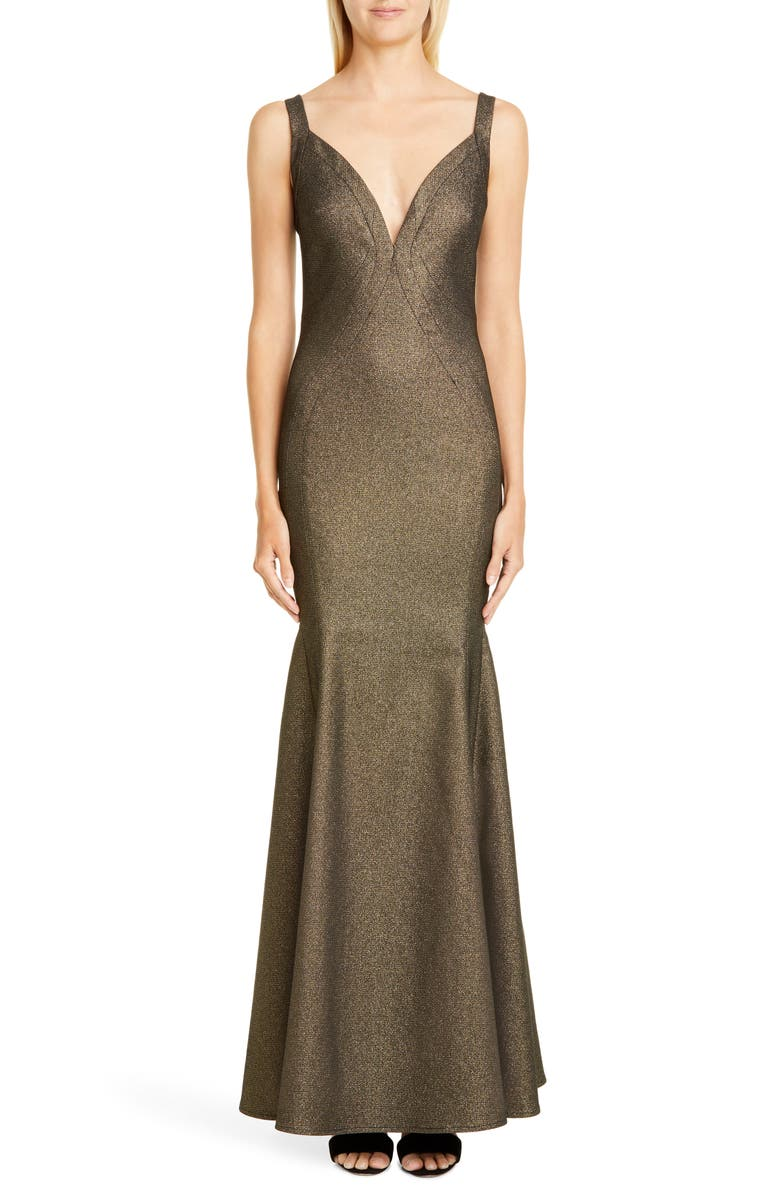 ZAC ZAC POSEN Stephanie Metallic Gown, Main, color, GOLD
