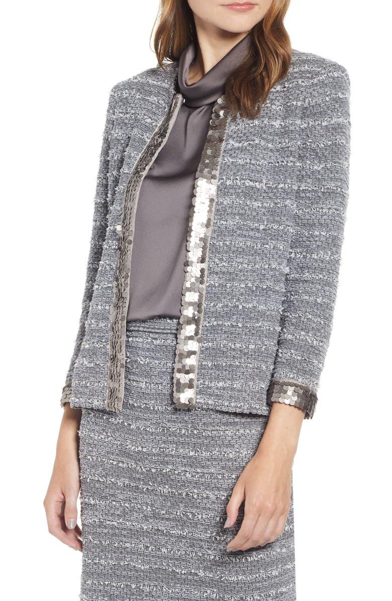 MING WANG Sequin Trim Bouclè Tweed Jacket, Main, color, GRANITE/ SILVER MIST