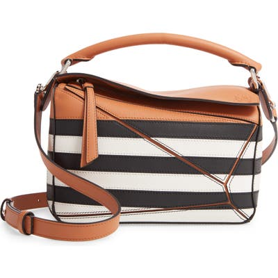 Loewe Small Puzzle Marine Stripe Leather Shoulder Bag - Brown