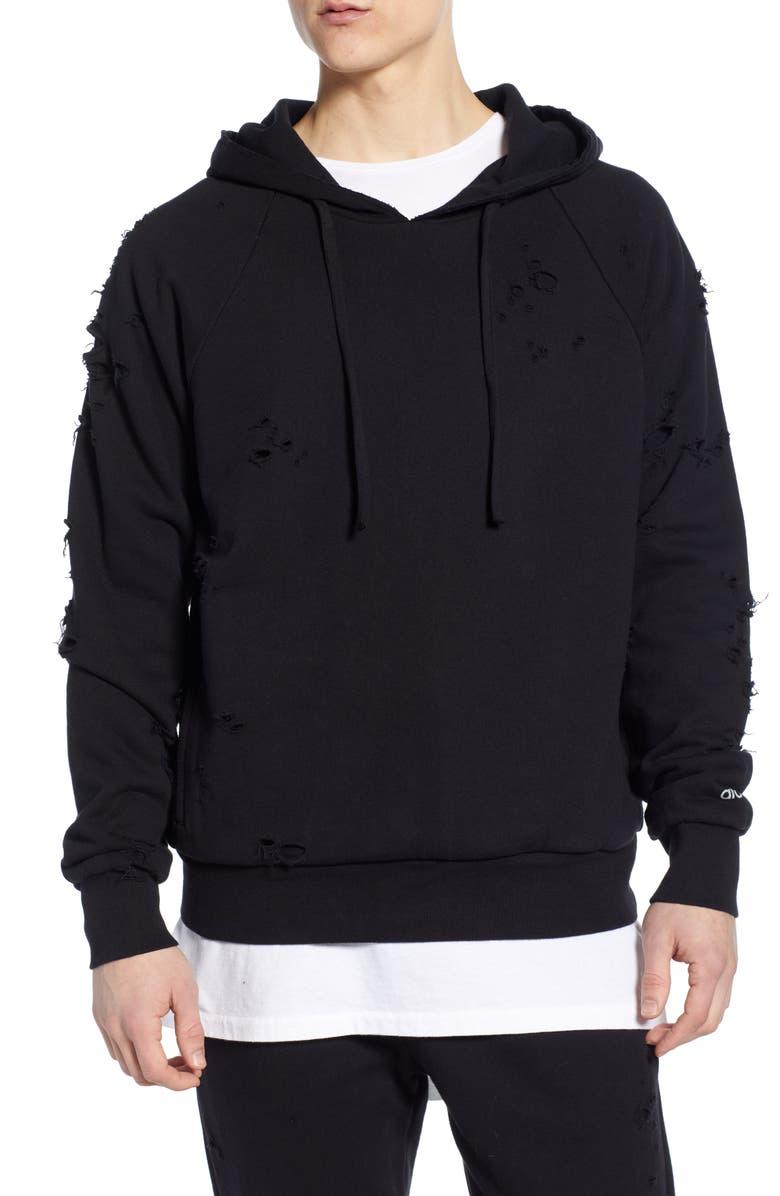 ALO Ripped Hooded Sweatshirt, Main, color, BLACK