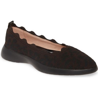 Taryn Rose Dasha Scallop Sock Flat- Brown