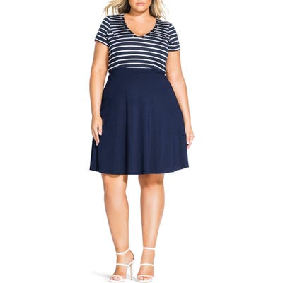 Plus Size City Chic Sailor Stripe Dress, Blue