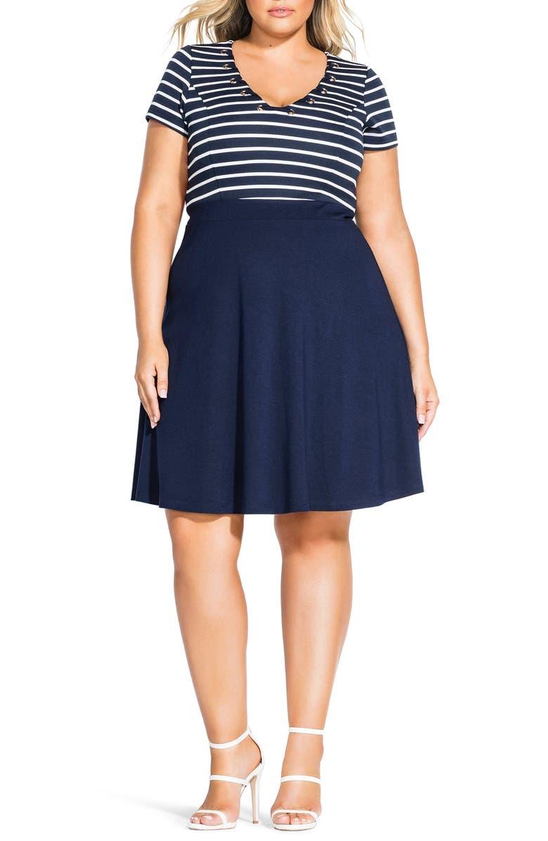 CITY CHIC Sailor Stripe Dress, Main, color, NAVY STRIPE
