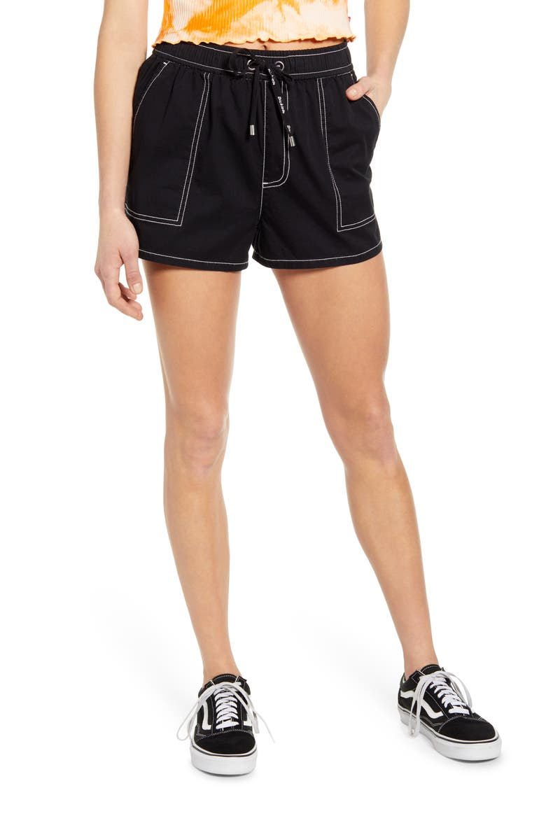 DICKIES Contrast Stitch Pull On Shorts, Main, color, BLACK