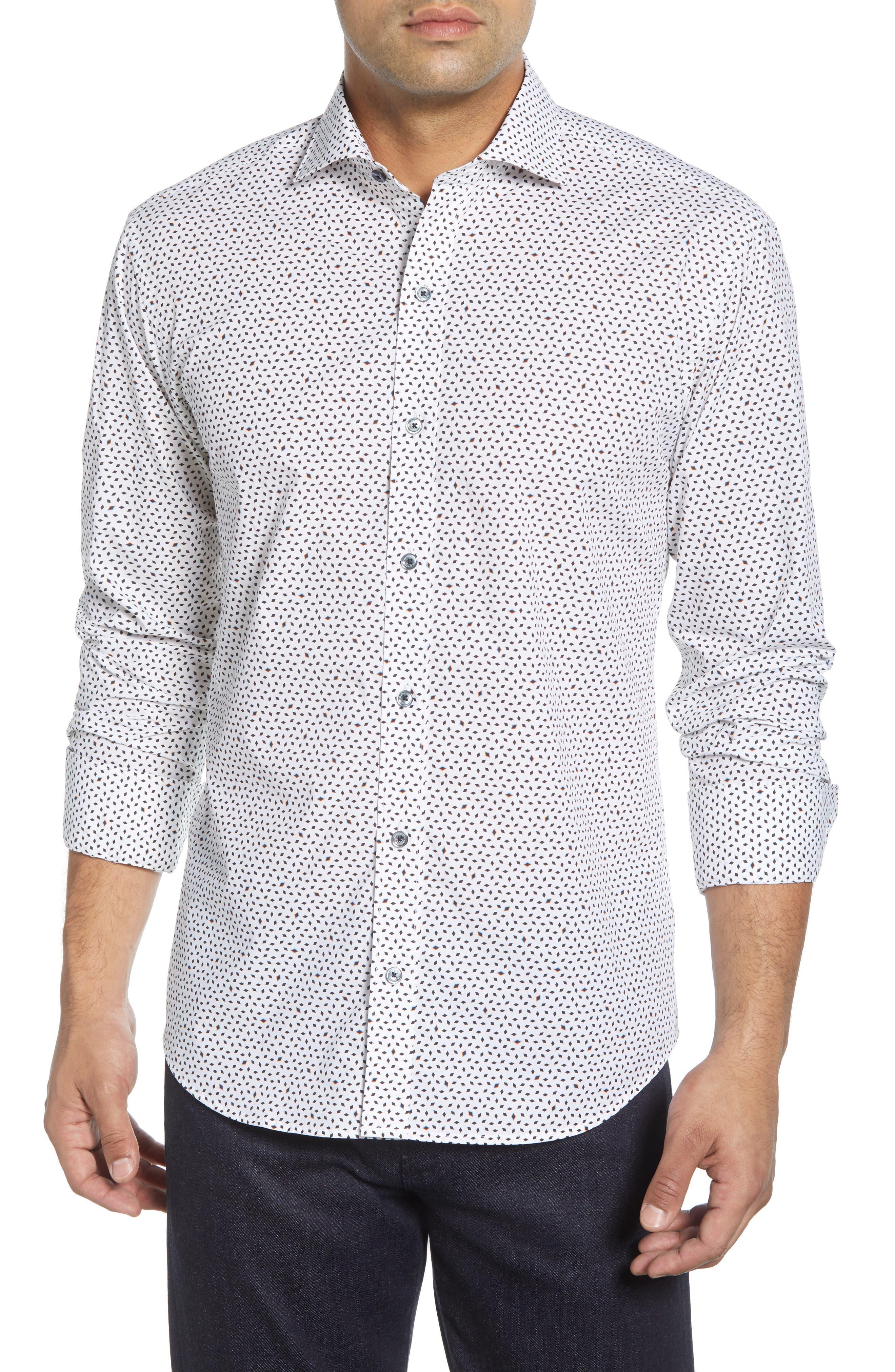 men's bugatchi shaped fit cotton shirt