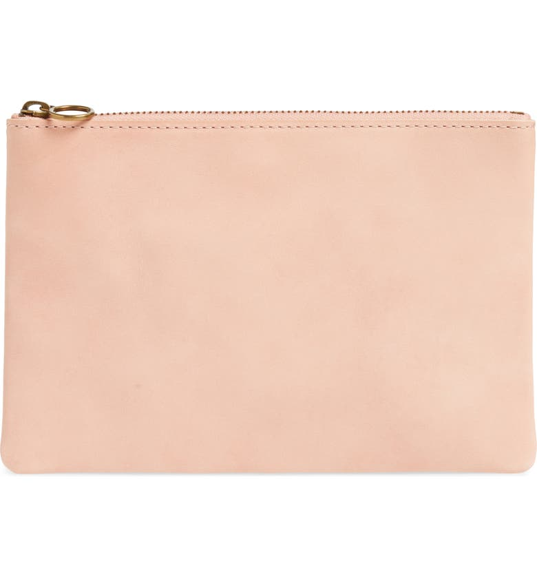 MADEWELL The Leather Pouch Clutch, Main, color, PETAL PINK
