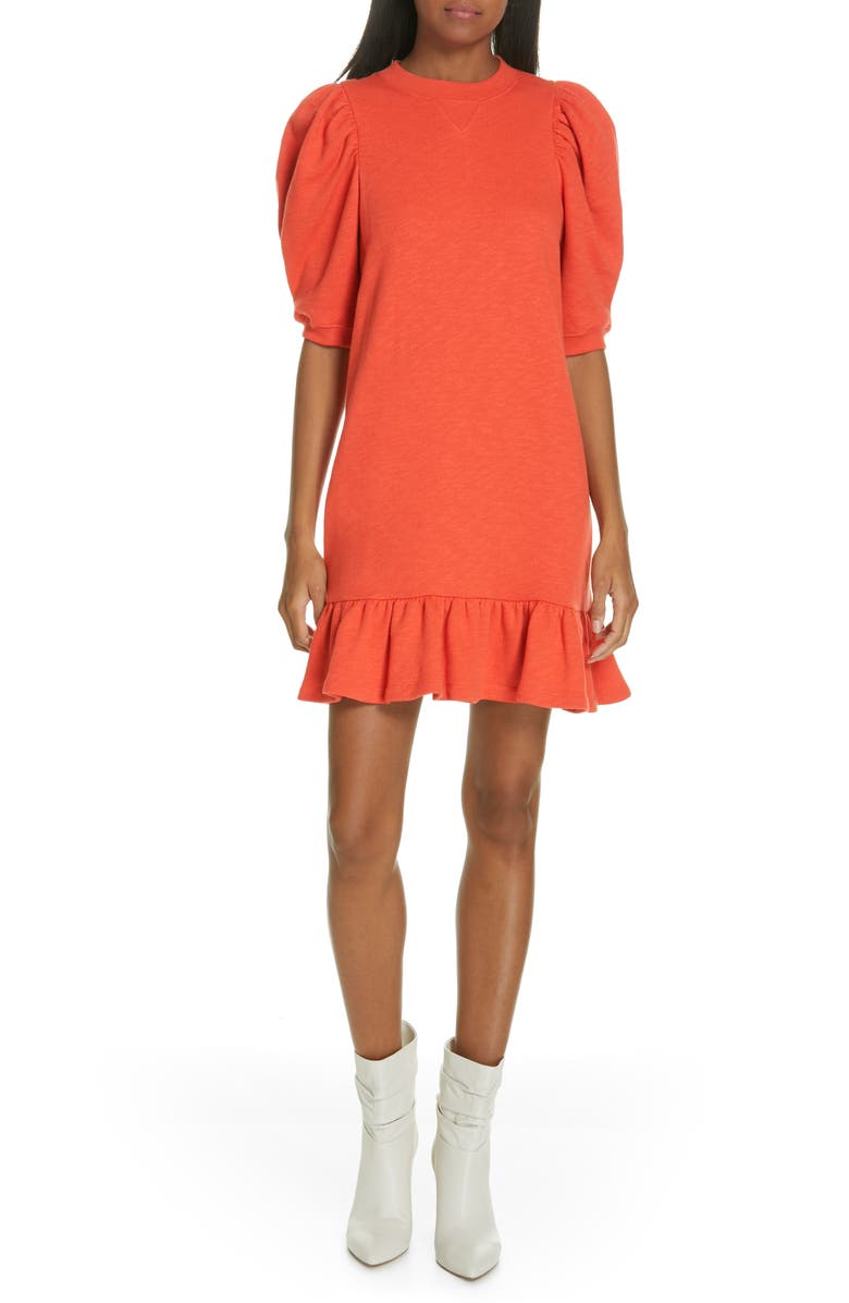 ULLA JOHNSON Landry Puff Sleeve Sweatshirt Dress, Main, color, 800