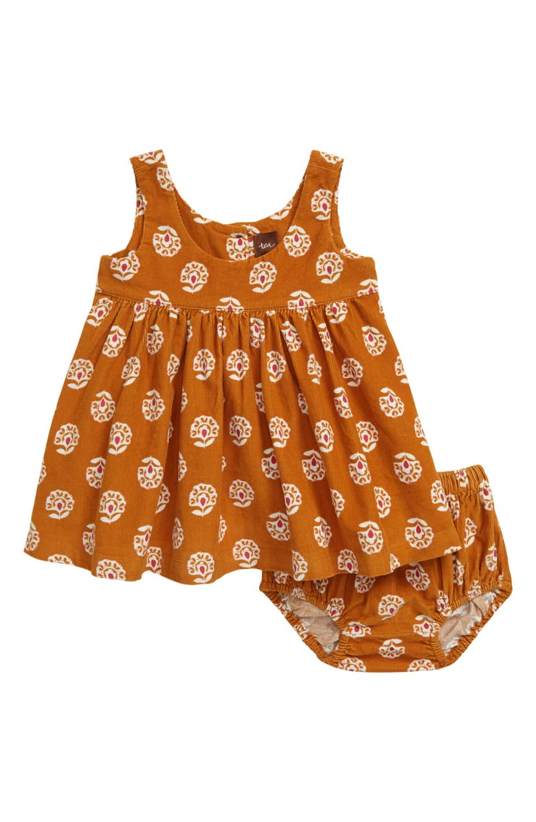 TEA COLLECTION Print Corduroy Dress, Main, color, SUNNY FLOR