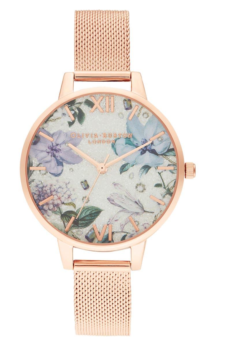 OLIVIA BURTON Bejewelled Floral Mesh Strap Watch, 34mm, Main, color, 710