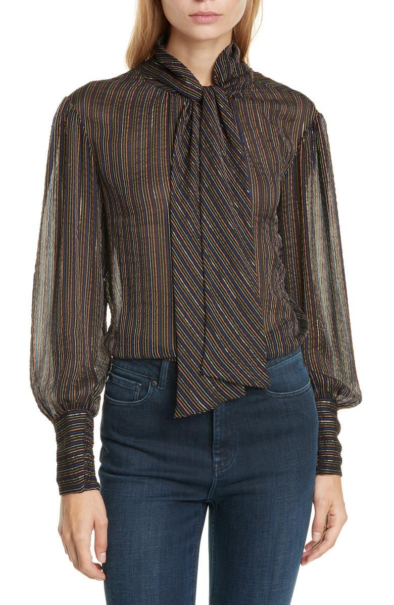 REBECCA TAYLOR Metallic Stripe Tie Neck Silk Blend Blouse, Main, color, BLACK COMBO
