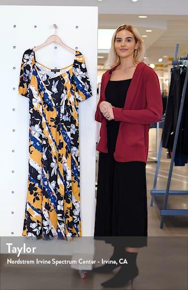 Botanical Print Stretch Satin Maxi Dress, sales video thumbnail