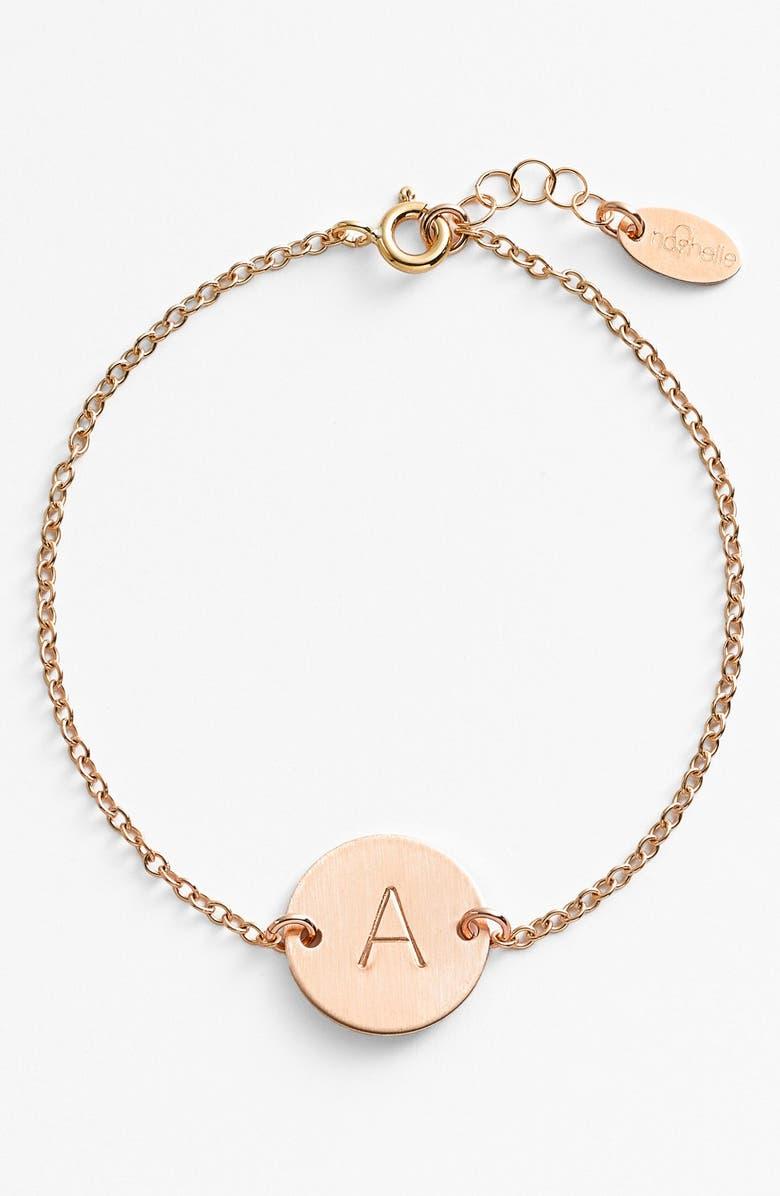 NASHELLE 14k-Gold Fill Initial Disc Bracelet, Main, color, 14K GOLD FILL A