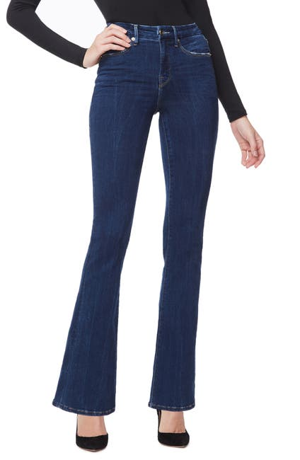 Image of Good American Good High Waisted Flare Leg Jeans