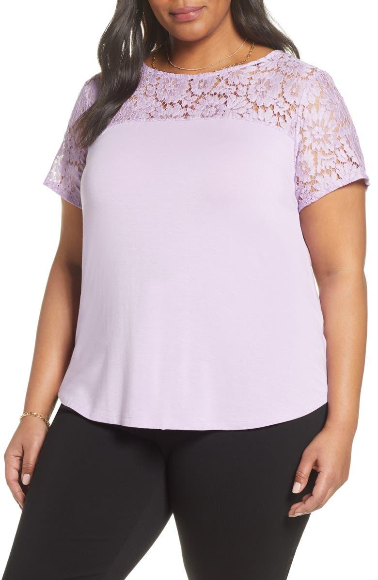 HALOGEN<SUP>®</SUP> Floral Lace Yoke Top, Main, color, PURPLE CROCUS