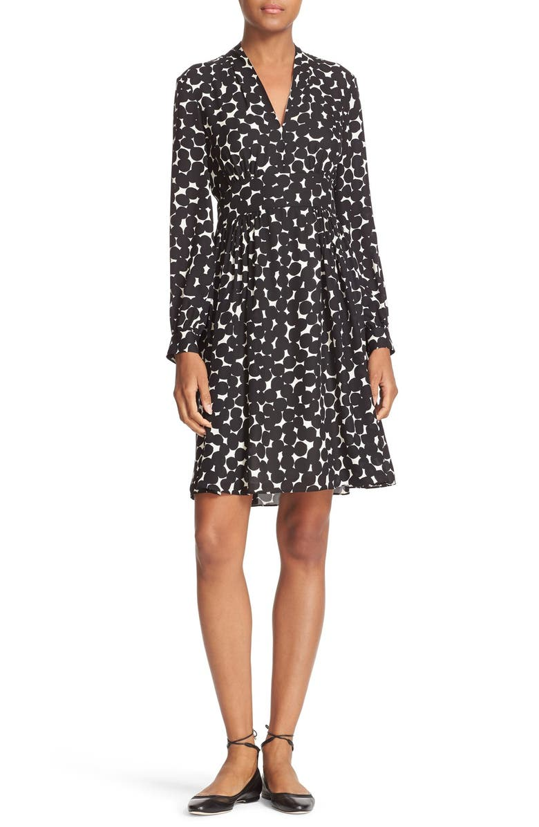 KATE SPADE NEW YORK blot dot silk dress, Main, color, 902